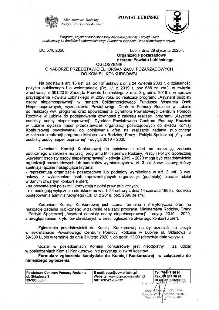 Ogłoszenie o naborze przedstawicieli organizacji pozarządowych