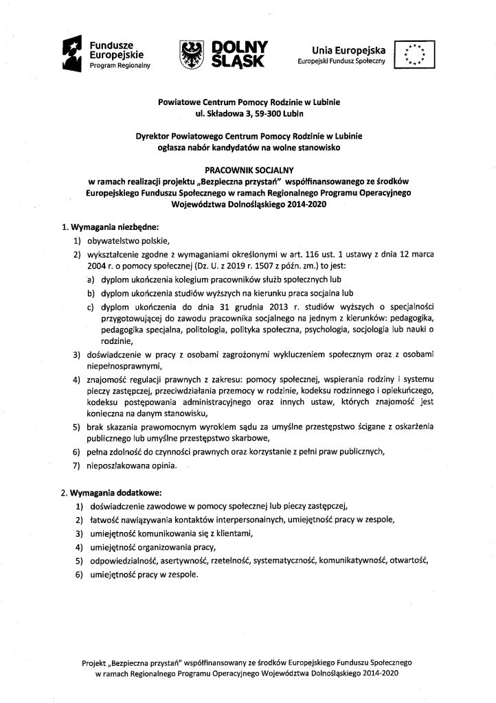 Nabór kandydatów na wolne stanowisko PRACOWNIK SOCJALNY